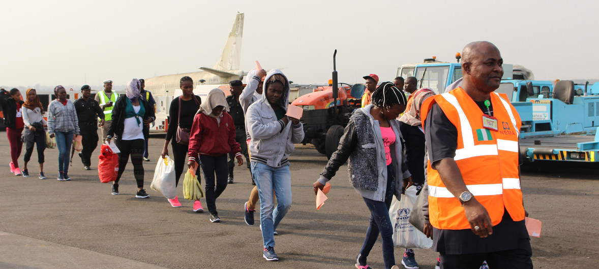 IOM: Nigerian migrants stranded in Libya arrive in Lagos as part of IOM's voluntary return and reintegration programme. 14 February 2017.
